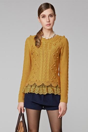 Lace Stitching Twist Pattern Sweater [FKBJ10373]- US$ 55.99 - PersunMall.com