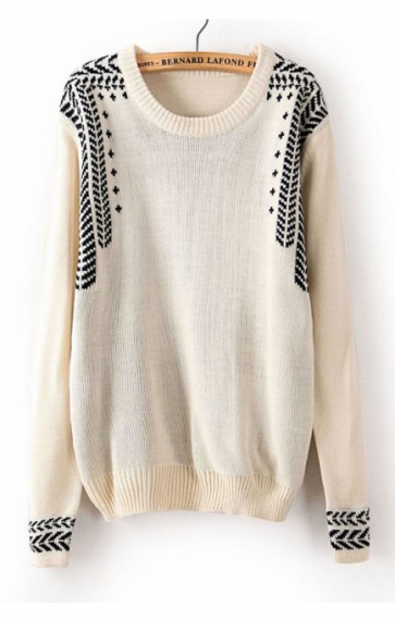 Jacquard Weave Pullover Sweater