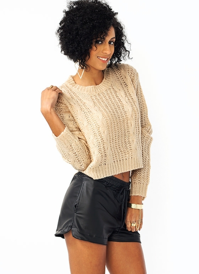 GJ | Not Your Grandmas Sweater $39.00 in BLACK OATMEAL ROSE - Sweaters | GoJane.com