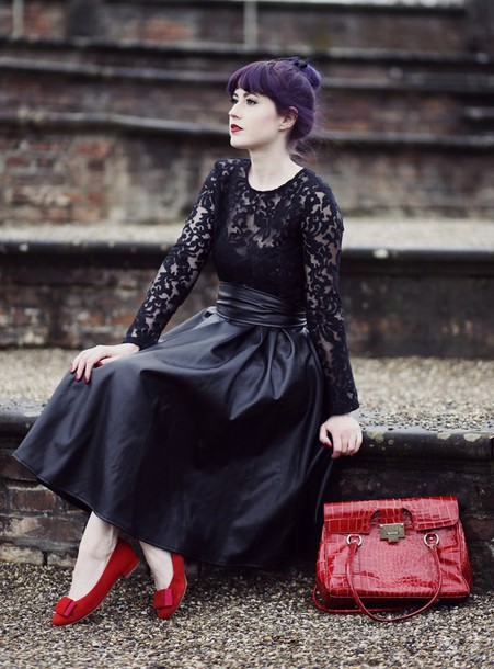 like a riot blogger dress red bag red heels leather skirt midi skirt lace top shoes bag black