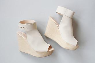 shoes wedges white cream wood platform heels open shoes heels wooden heels wood platform shoes white wedges