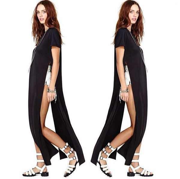 dress t-shirt dress t-shirt side slit side split side split maxi dress long t-shirt long top white black white dress aliexpress free shipping beach cover up swimwear tie dye shirt tunic top nastygal urban outfitters edgy edgy black shirt black shirt t-shirt