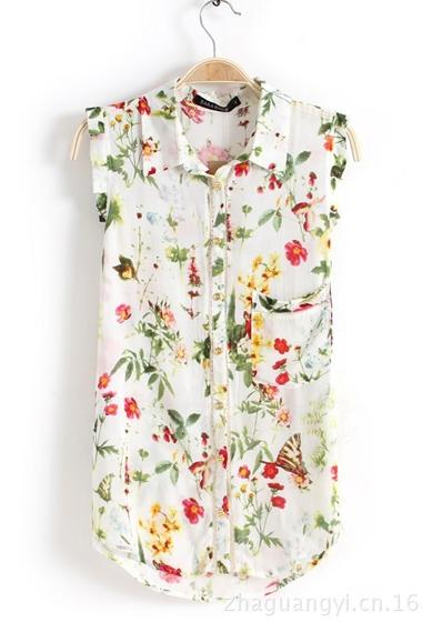 White Floral Print Sleeveless Chiffon Blouse