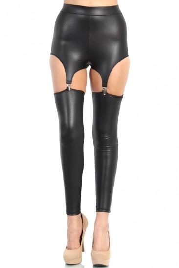 LoveMelrose.com From Harry & Molly | High Waisted Leather Suspender Leggings - Black