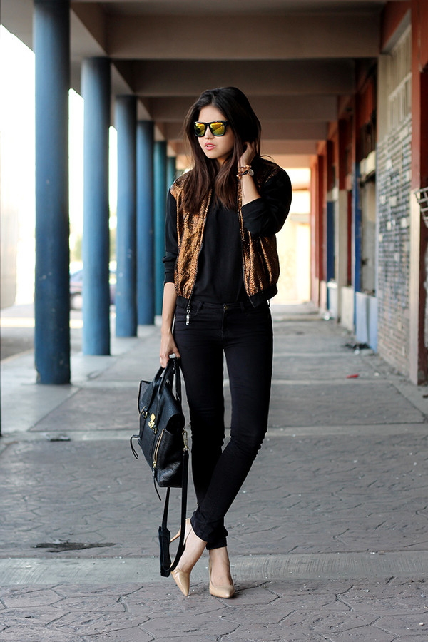fake leather jeans jacket t-shirt sunglasses shoes metallic bomber bomber jacket gold jacket black jeans top black top pointed toe pumps pumps nude pumps fall outfits bag phillip lim black bag mirrored sunglasses blogger