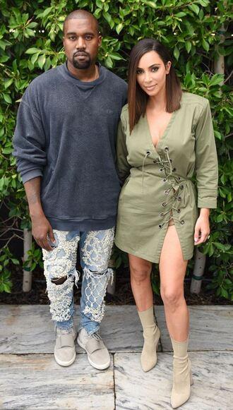 dress olive green mini dress lace up boots kim kardashian kanye west menswear jeans sweatshirt kardashians shoes