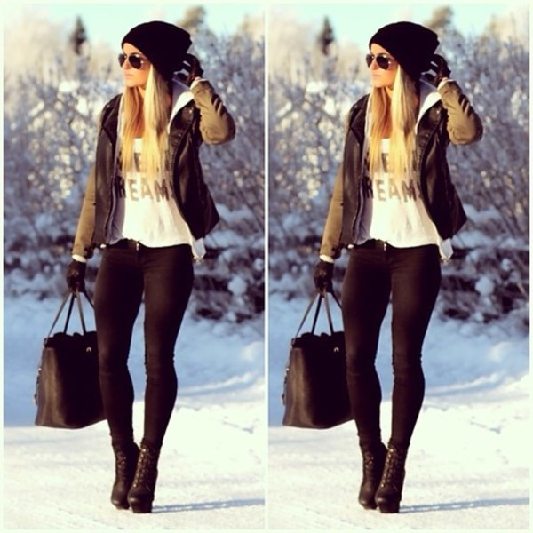 jacket leather jacket bag jeans shoes shirt hat coat