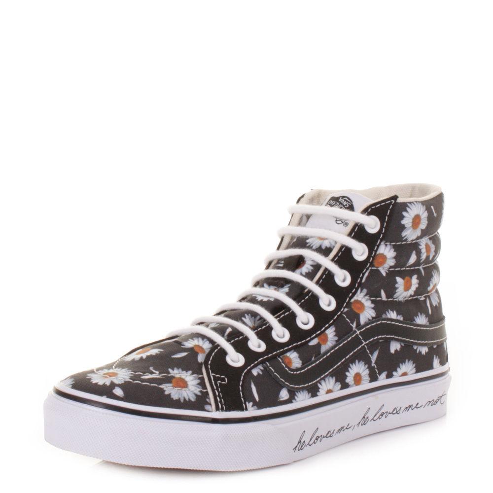 Womens Vans Sk8 Slim Love Me Black Daisy High Top Hi Top Ankle Boots Size 3 8 | eBay