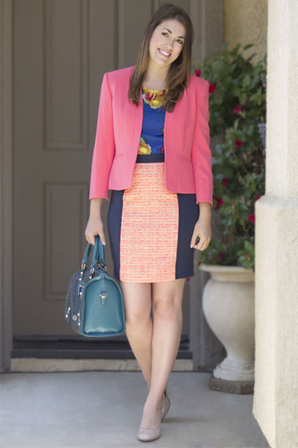 styleegrace blogger jacket dress bag shoes pink jacket blazer handbag high heel pumps pumps