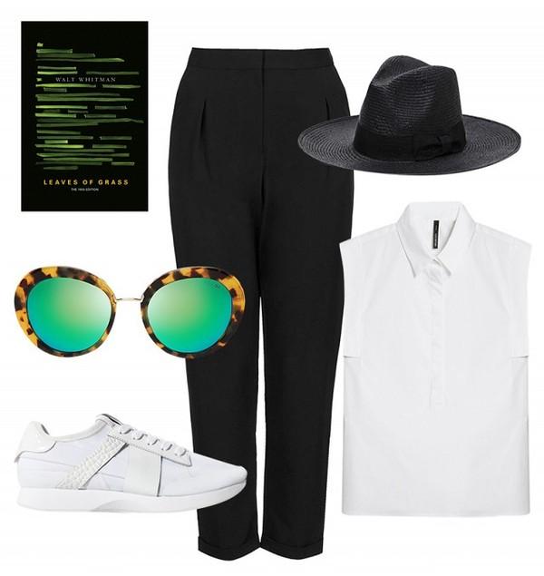 shirt pants hat sunglasses shoes
