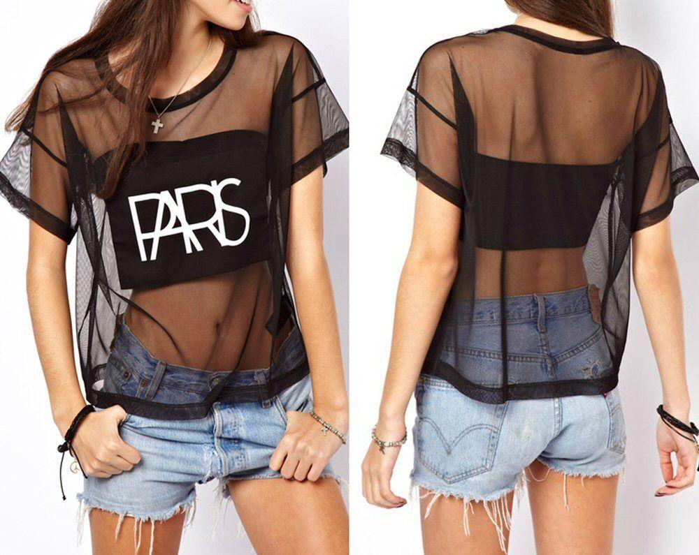 Womens Letter Print See-through Short Sleeve Crop Tops Shirt Blouse | eBay