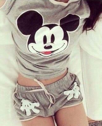 pajamas grey mickey mouse
