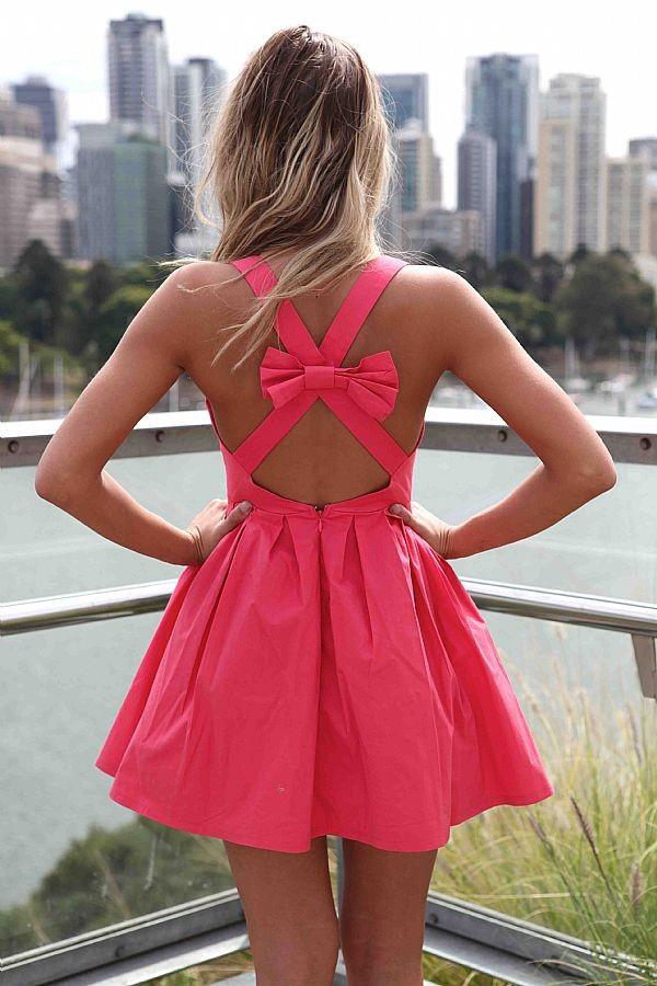 dress bow dress coral dress Bow Back Dress party dress