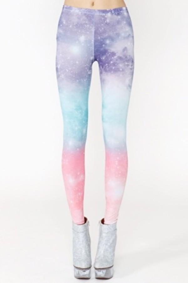 pants leggings pale galaxy print