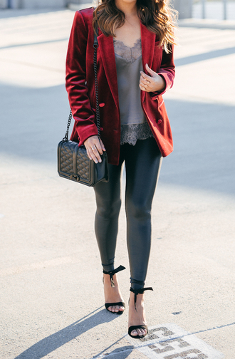 hauteofftherack blogger jacket leggings shoes tank top sunglasses blazer red jacket shoulder bag fall outfits high heel sandals sandals