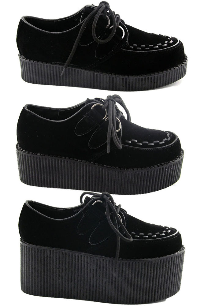 New Womens Black Platform Lace Up Ladies Flats Creepers Punk Goth Shoes Size 3 8   eBay