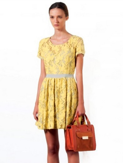 Sweet & Marvelous Short Sleeve Hollow-out Pleated Dress----Yellow _Short Sleeve Dress_Dresses_Apparel_Fashion Dresses,Casual Clothes,Wholesale Clothing