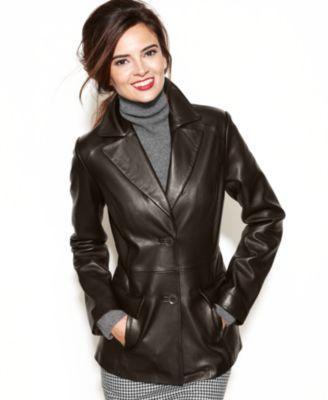 Anne Klein Leather Blazer Quilted Shoulder - Jackets & Blazers - Women - Macy's