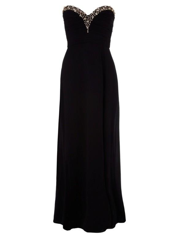 dress black maxi dress black prom dress black gold sequins gold beading prom dress black long socks