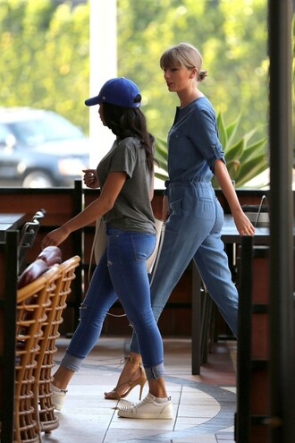jumpsuit denim jeans taylor swift sandals spring outfits shoes