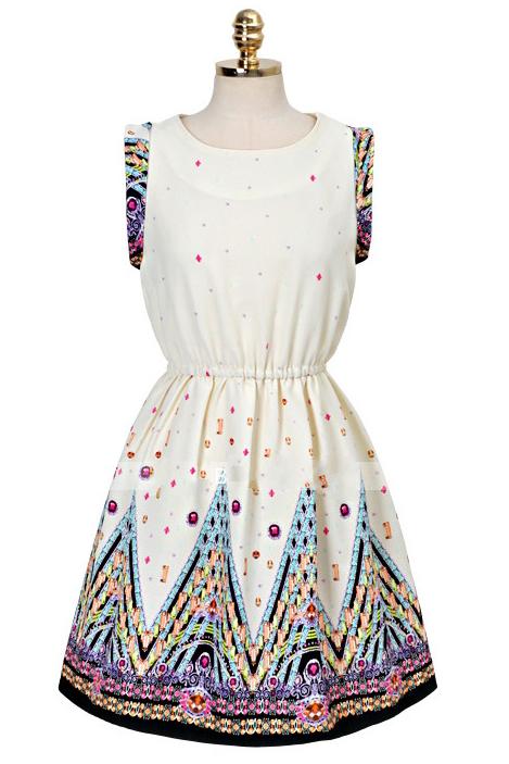Round Neck Sleeveless Retro Print Dress [DLN0077] - PersunMall.com