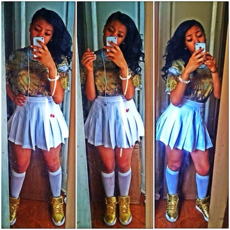 t-shirt dope base god instagram found on instagram pretty cute white cleopatra sneakers gold gold shoes skirt shoes jelly scandals scandalous crazy tv tv show