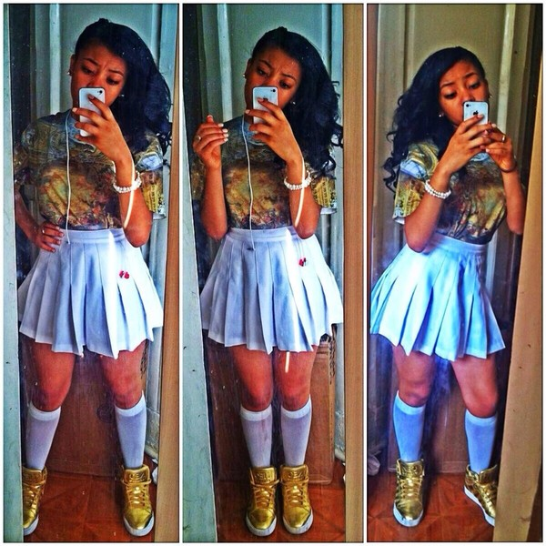 t-shirt dope dope base god instagram found on instagram pretty cute white cleopatra sneakers gold gold shoes skirt shoes jelly scandals scandalous crazy tv tv show