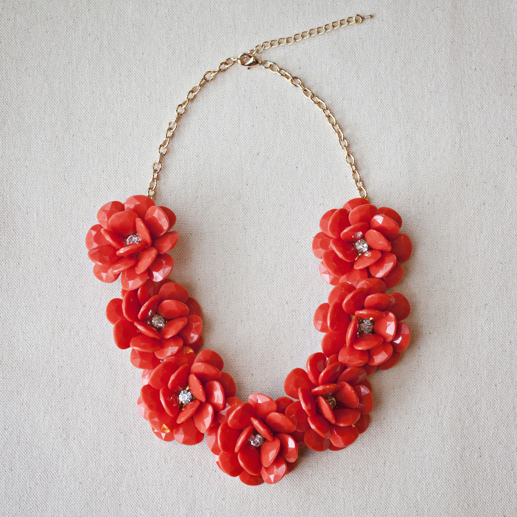 Deep Coral Beaded Flower Necklace – PureStunning