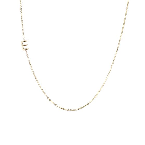 Maya Brenner Asymmetrical Initial Necklace, Solid 14k Gold | Mark and Graham