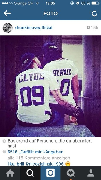 t-shirt couple sweaters bonnie and clyde white top black hat clyde bonnie tees white white shirt white t-shirt