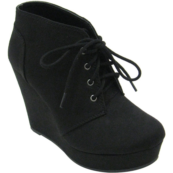 Black Faux Suede Oxford Wedge Bootie - Polyvore
