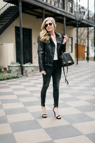 onesmallblonde blogger jacket t-shirt jeans shoes bag sunglasses black jacket black bag winter outfits high heel sandals sandals