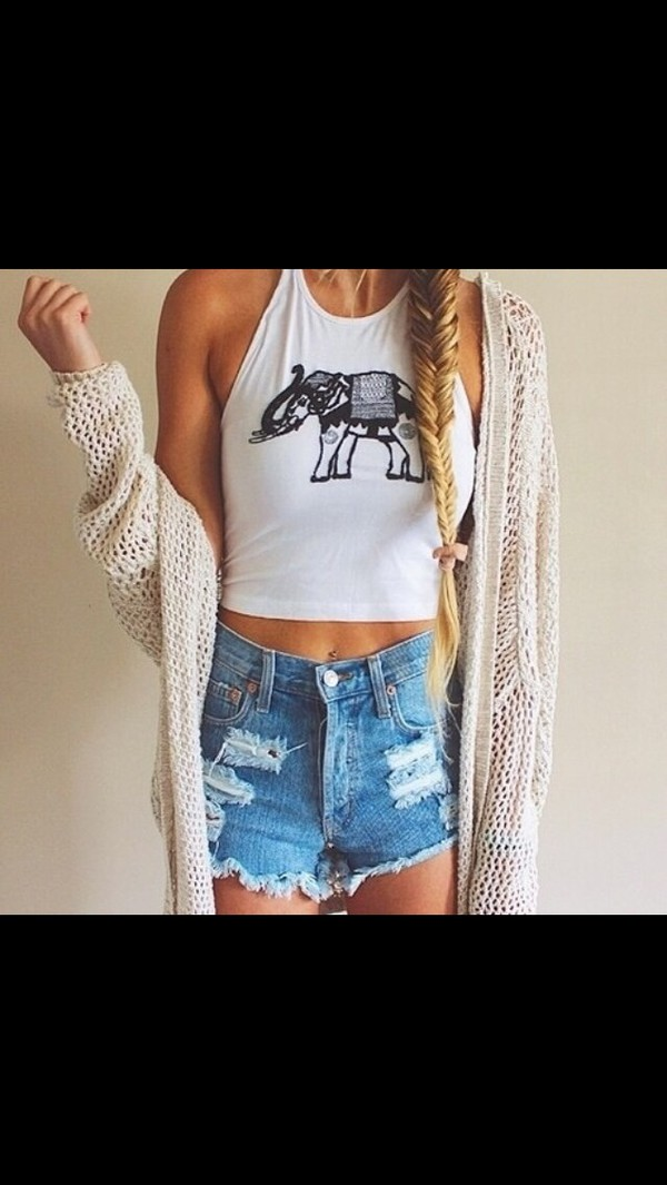 top elephant indie hipster crop tops cardigan shorts