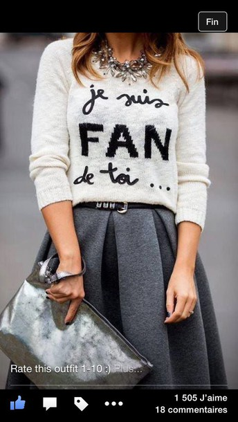 sweater quote on it pouch silver necklace grey skirt love quotes top