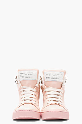 Marc By Marc Jacobs Blush Pink Leather Cute Kicks High-top Sneakers for women | SSENSE