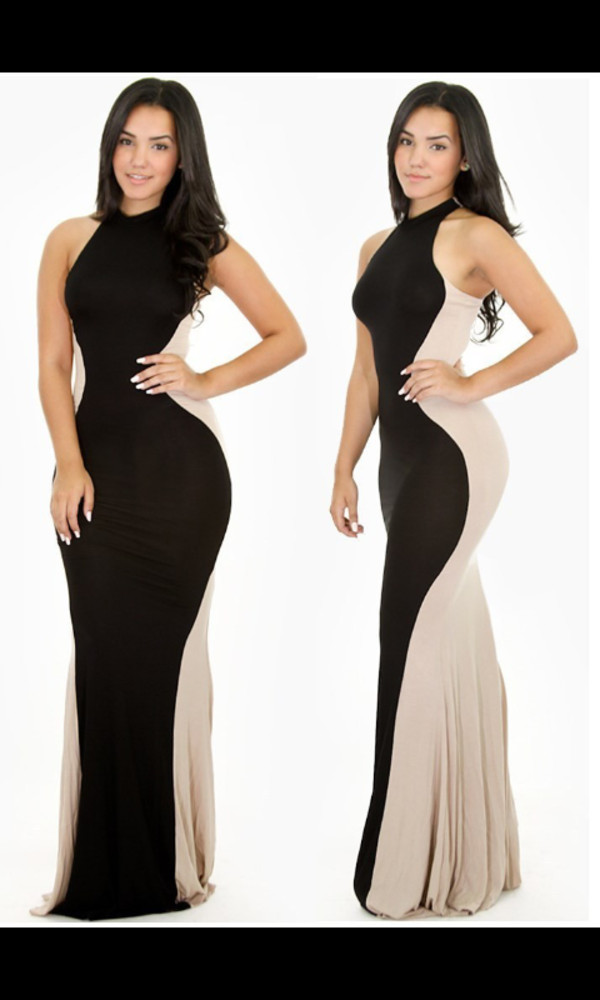 dress hourglass beige dress black maxi dress