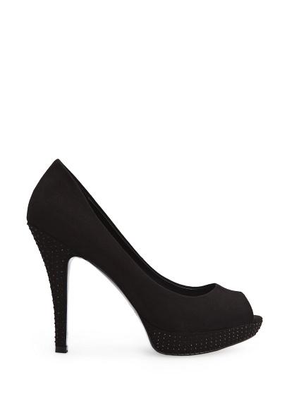 MANGO - Shoes - Rhinestone suede peep-toe shoes