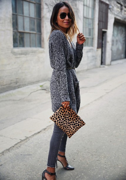sincerely jules blogger cardigan belt grey jeans animal print pouch jeans bag animal print bag printed pouch sunglasses aviator sunglasses grey cardigan fall outfits