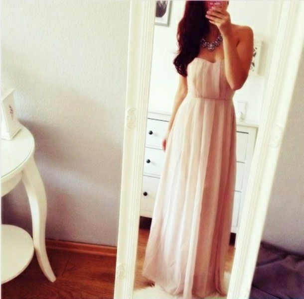 dress prom dress strapless dress beautifuldress peach dress