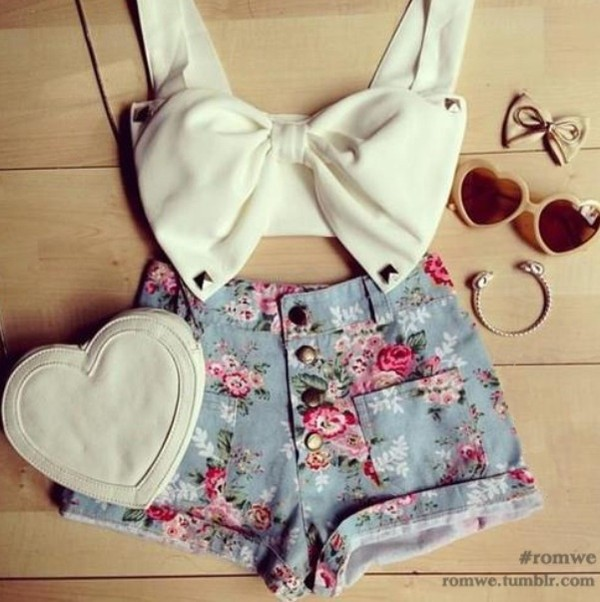 tank top crop tops bow bows shorts floral sunglasses white heart