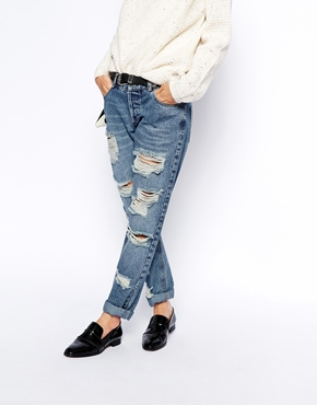 ASOS | ASOS Brady Low Rise Slim Boyfriend Jeans in Mid Wash with Extreme Rips bei ASOS