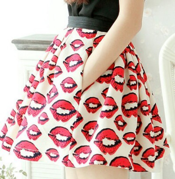 skirt kiss red cute white black summer outfits