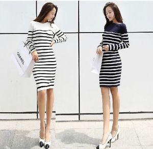 Free Women Fall Stripes Casual Long Sleeve Blouse Knit Sweater Dress Long Skirts | eBay