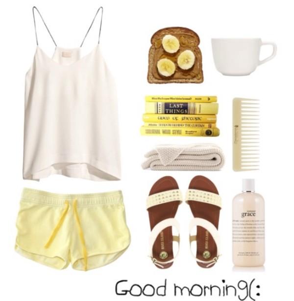 blouse white yellow pastel short sleep
