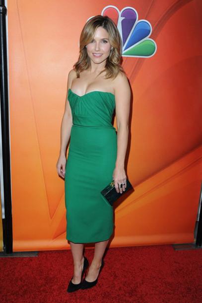 strapless sophia bush bodycon dress bustier dress green dress dress