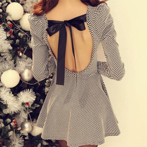 Sexy Sweet Back Cutout Bowknot Plaid Dress [ghyxh360909] on Luulla