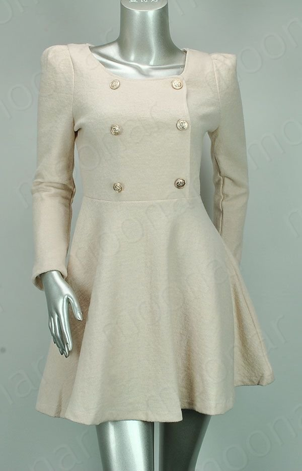 Graceful Lady Collarless Double breasted Coat Dress Jacket Outwear Casual Career WE0944-in Wool & Blends from Apparel & Accessories on Aliexpress.com