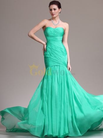 Crisscross Pleated Strapless Mermaid Chiffon Prom Dress - US$176.00 - Goldwo.com