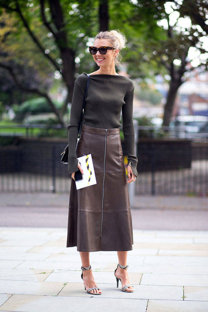 skirt leather skirt fashion week 2014 streetstyle fall outfits blouse shoes midi leather skirt brown leather skirt dark green knit top black shoulder bag barely there heels brown wayferer knitted sweater