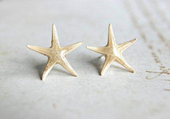 Starfish Stud Earrings Real Starfish Earrings by BellaAnelaJewelry
